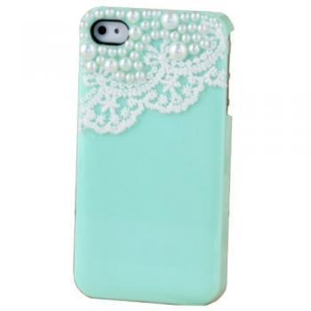 Handmade Lace Manmade Pearl Light Green Case Cover for Iphone 4 4s