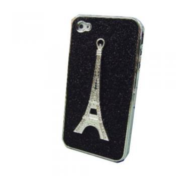 Eiffel Tower Black Bling Silver Side Case Cover for iPhone 4 4S