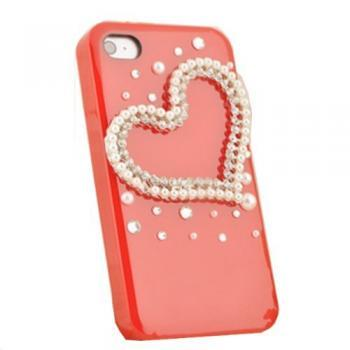 Manmade Pearl Rhinestones Heart Shape Case Cover for Iphone 4 4s